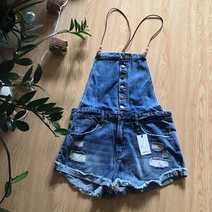 Forever 21 distressed denim overalls shorts NWT